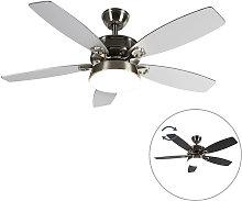 Qazqa - Ceiling fan steel with remote control