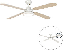 Qazqa - Ceiling fan white with remote control -