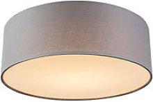 Qazqa - Ceiling lamp gray 30 cm incl. LED - Drum