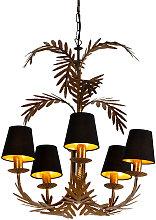 Qazqa - Chandelier gold with black shades 5-light