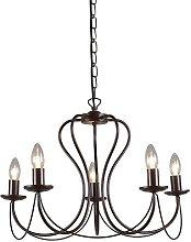 Qazqa - Classic chandelier rust brown - Como 5