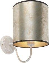 Qazqa - Classic wall lamp beige with zinc shade -