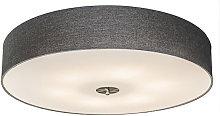Qazqa - Country ceiling lamp gray 70 cm - Drum Jute