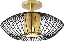 Qazqa - Design ceiling lamp gold with black -