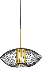 Qazqa - Design hanging lamp gold with black 50 cm