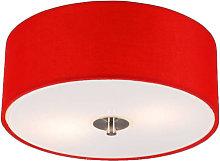 Qazqa - Modern Ceiling Lamp 30cm Red - Drum
