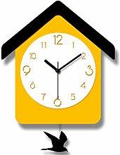 QAZQAZ Wood Wall Clock Modern Design Cuckoo Clock