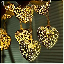 QAZWSXE 30 LED Metal Filigree Heart Wedding Party