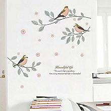 Qazwsxedc Colored Branches and Birds Self-Adhesive