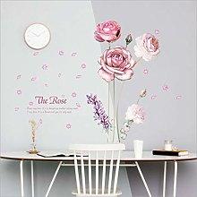 Qazwsxedc Rose Flower Wall Stickers Bedroom Living