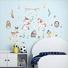 Qazwsxedc Watercolor Animal Wall Stickers