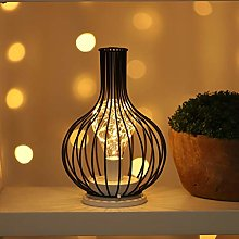 QBCNM Vintage Metal Cage Table Lamp, LED