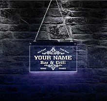QERTYU Bar Grill LED Neon Sign Personalized LED