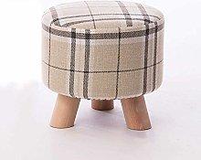 QFLY Solid Wood Fabric Stools Sofa Stools Change