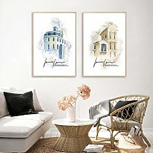 qggbgv Watercolor Building Landscape Painting
