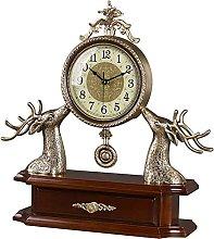 QHCS Desk Clock Table Clock Retro Creative Metal