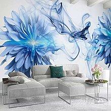 QHDHGR 3D Wallpaper Mural Blue&Flower Wall Murals