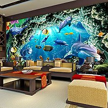 QHDHGR 3D Wallpaper Mural Blue Ocean & Dolphin