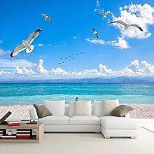 QHDHGR 3D Wallpaper Mural Blue Sky & Seagull Wall