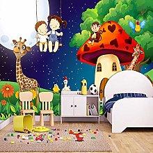 QHDHGR 3D Wallpaper Mural Cartoon & Mushroom House
