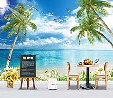 QHDHGR 3D Wallpaper Mural Coconut Tree & sea View
