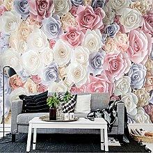 QHDHGR 3D Wallpaper Mural Color & Rose Wall Murals