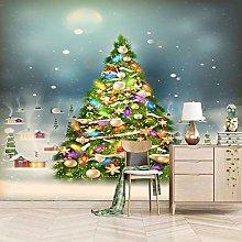 QHDHGR 3D Wallpaper Mural Colorful Christmas Tree