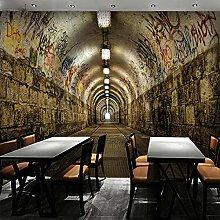 QHDHGR 3D Wallpaper Mural Graffiti & Tunnel Wall