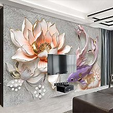 QHDHGR 3D Wallpaper Mural Lotus & Koi Wall Murals