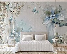 QHDHGR 3D Wallpaper Mural Painted Flowers and