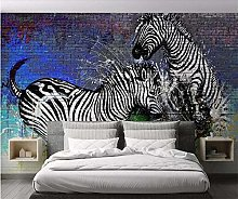 QHDHGR 3D Wallpaper Mural Painted & Zebra Wall