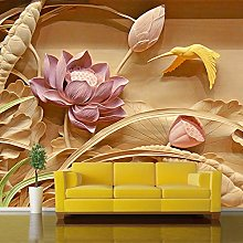QHDHGR 3D Wallpaper Mural Relief & Lotus Wall