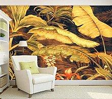 QHDHGR 3D Wallpaper Mural Yellow & Banana Leaf