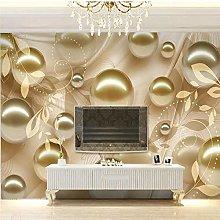 QHDHGR Wall Murals Wallpaper 3D Effects Gold&Beads