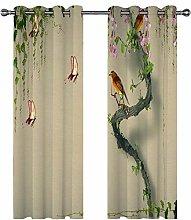 QHDIK Printed Kids Curtains 3D Branches, birds,