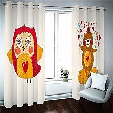 QHDIK Printed Kids Curtains 3D Cute animal eyelet