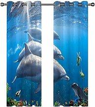 QHDIK Printed Kids Curtains 3D dolphin eyelet