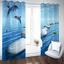 QHDIK Printed Kids Curtains 3D Dolphin, stone