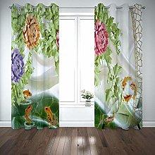 QHDIK Printed Kids Curtains 3D Flower, goldfish