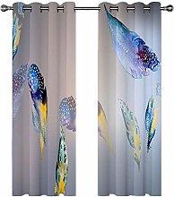 QHDIK Printed Kids Curtains 3D Flower zebra eyelet
