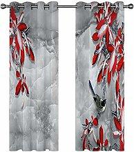 QHDIK Printed Kids Curtains 3D Flowers, birds