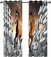 QHDIK Printed Kids Curtains 3D horse eyelet