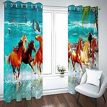 QHDIK Printed Kids Curtains 3D Horse group eyelet