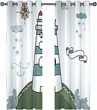 QHDIK Printed Kids Curtains 3D lighthouse eyelet
