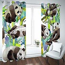 QHDIK Printed Kids Curtains 3D panda eyelet