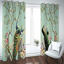 QHDIK Printed Kids Curtains 3D Peacock Flower Tree