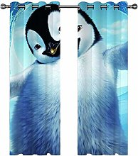 QHDIK Printed Kids Curtains 3D penguin eyelet