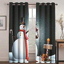 QHDIK Printed Kids Curtains 3D snowman eyelet