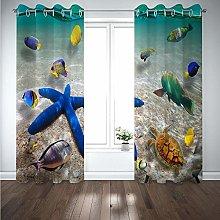 QHDIK Printed Kids Curtains 3D Starfish, turtle,