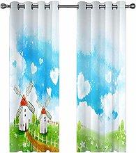QHDIK Printed Kids Curtains 3D windmill eyelet